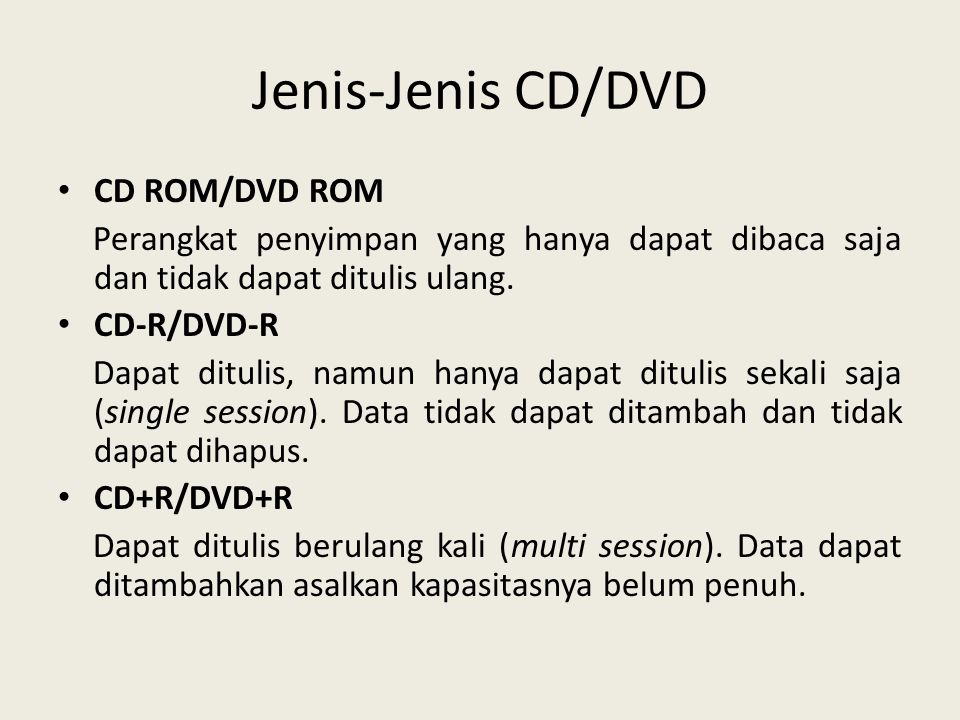 Jenis-Jenis CD/DVD CD ROM/DVD ROM