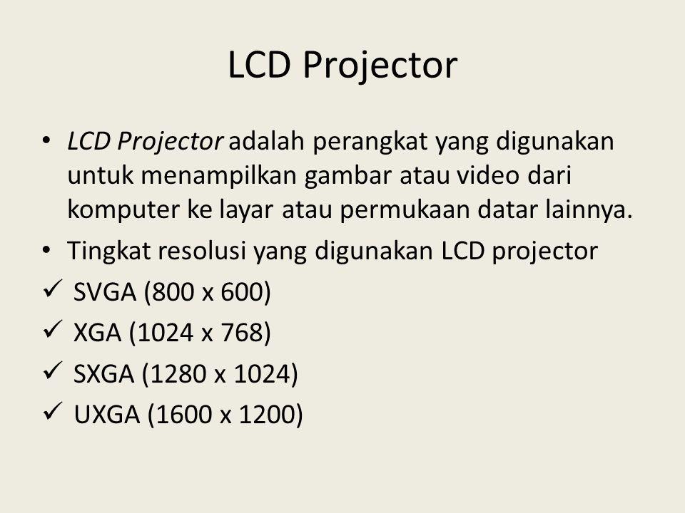 LCD Projector LCD Projector adalah perangkat yang digunakan untuk menampilkan gambar atau video dari komputer ke layar atau permukaan datar lainnya.