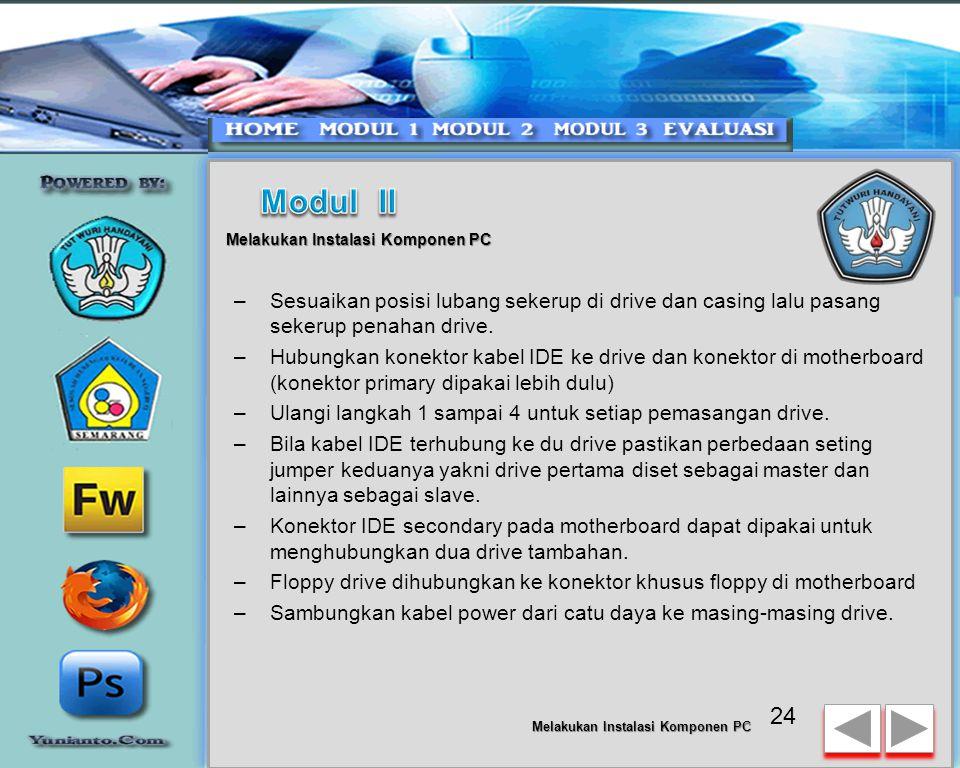 Modul II Melakukan Instalasi Komponen PC. Sesuaikan posisi lubang sekerup di drive dan casing lalu pasang sekerup penahan drive.
