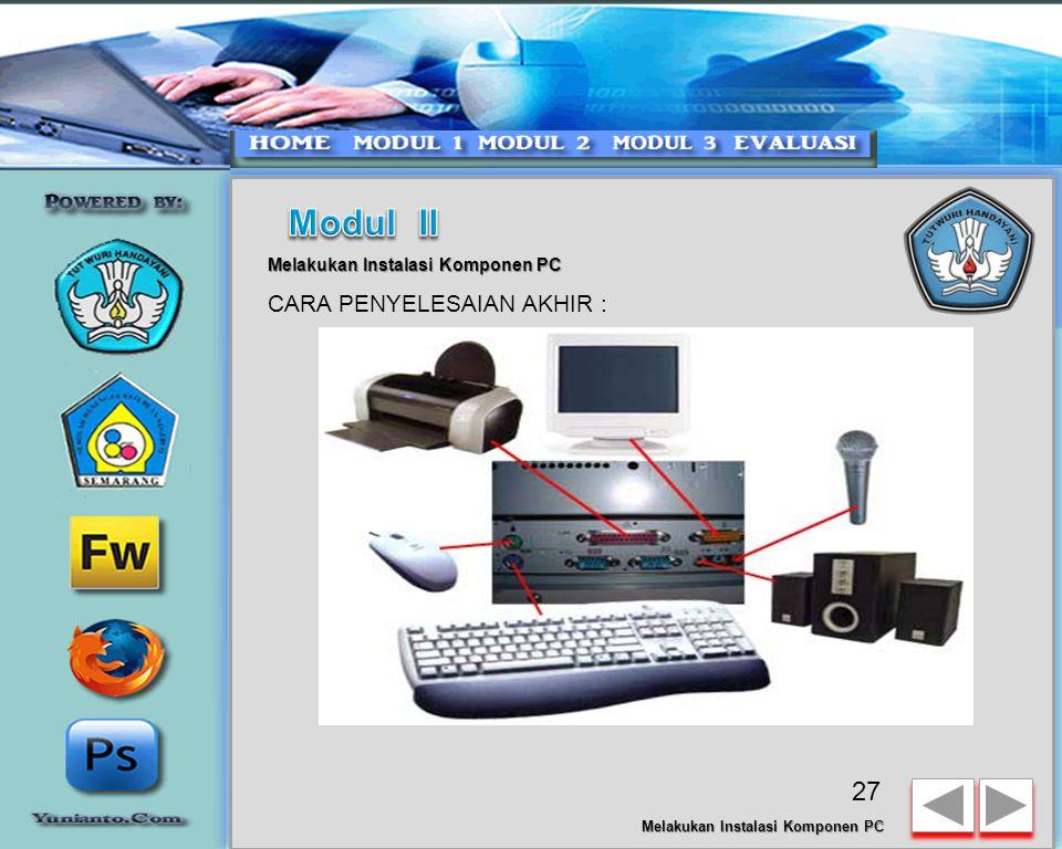 Modul II CARA PENYELESAIAN AKHIR : Melakukan Instalasi Komponen PC