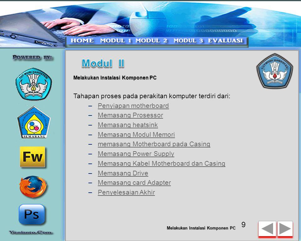 Modul II Tahapan proses pada perakitan komputer terdiri dari: