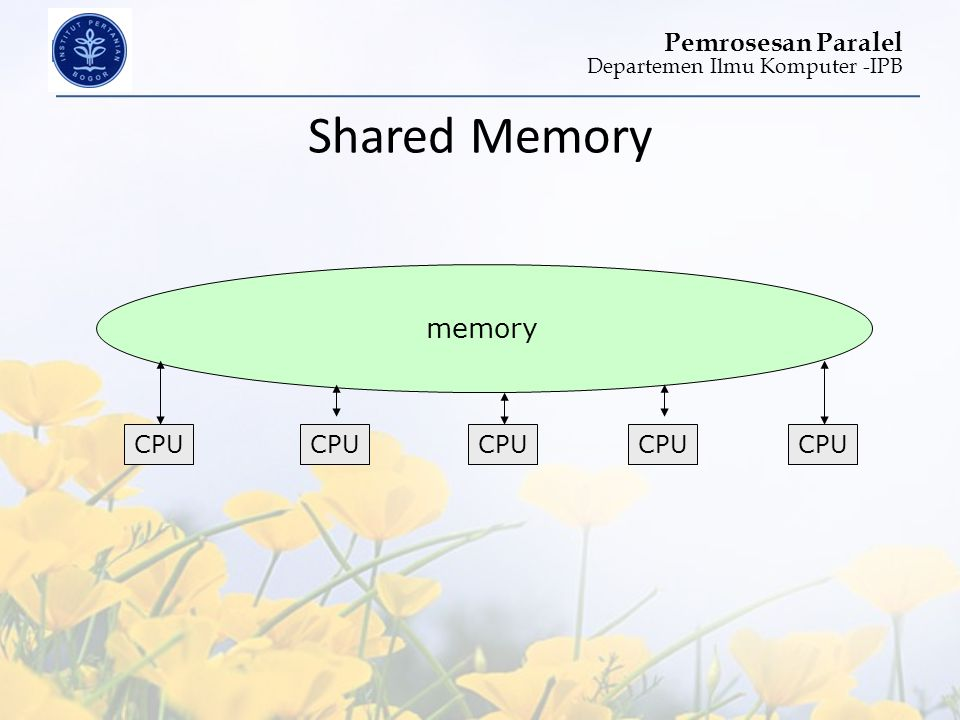 Shared Memory memory CPU CPU CPU CPU CPU