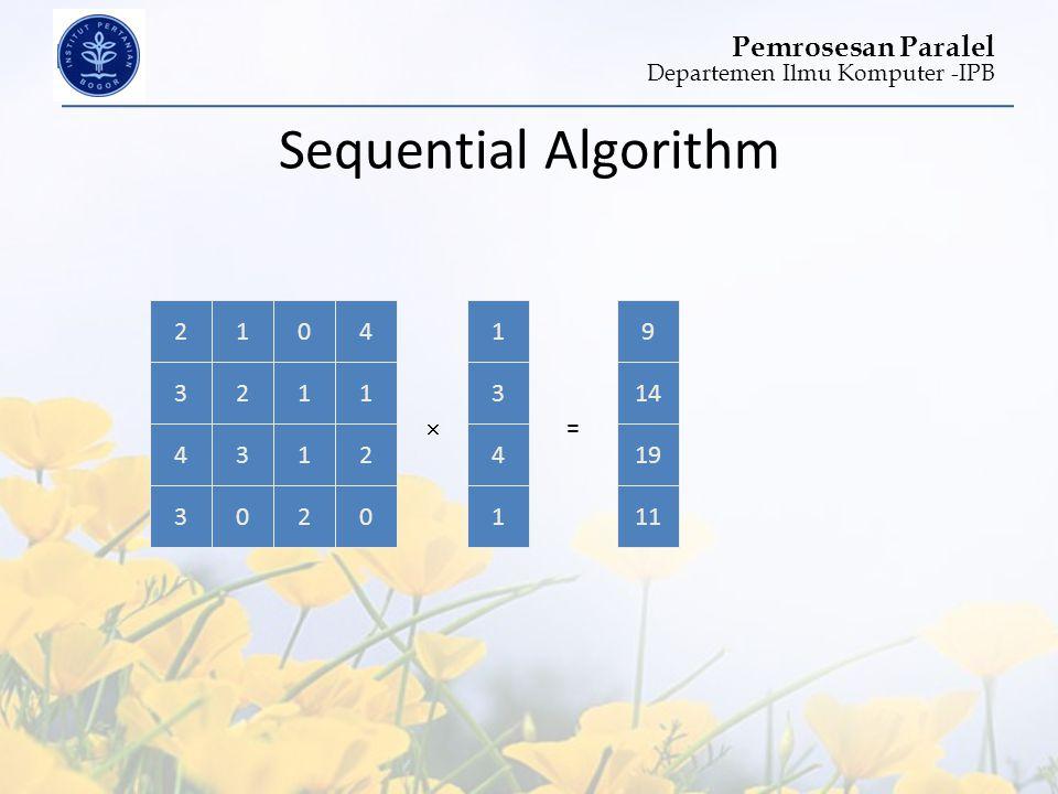 Sequential Algorithm 19 1 3 4 2 3 1 2 1 4 3 =  14 1 3 4 2 4 1 3 1 9 2