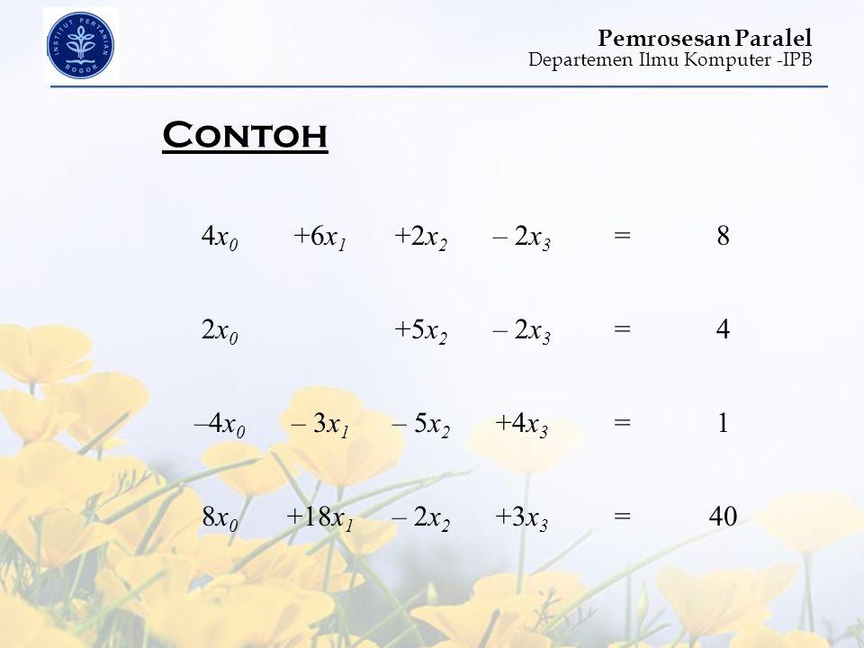 Contoh 4x0 +6x1 +2x2 – 2x3 = 8 2x0 +5x2 4 –4x0 – 3x1 – 5x2 +4x3 1 8x0