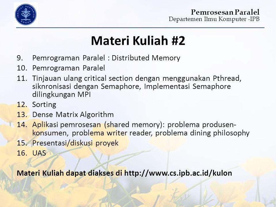 Materi Kuliah #2 Pemrograman Paralel : Distributed Memory