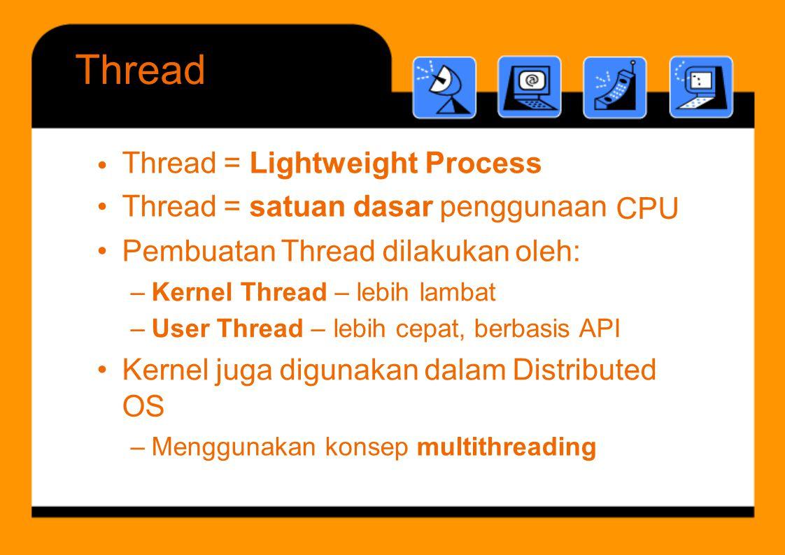 Thread Thread = Lightweight Process Thread = satuan dasar penggunaan •