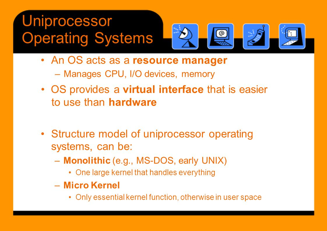 Uniprocessor Operating Systems • An OS acts as a resource manager