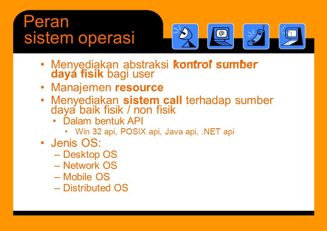 Peran sistem operasi – Desktop OS – Network OS – Mobile OS