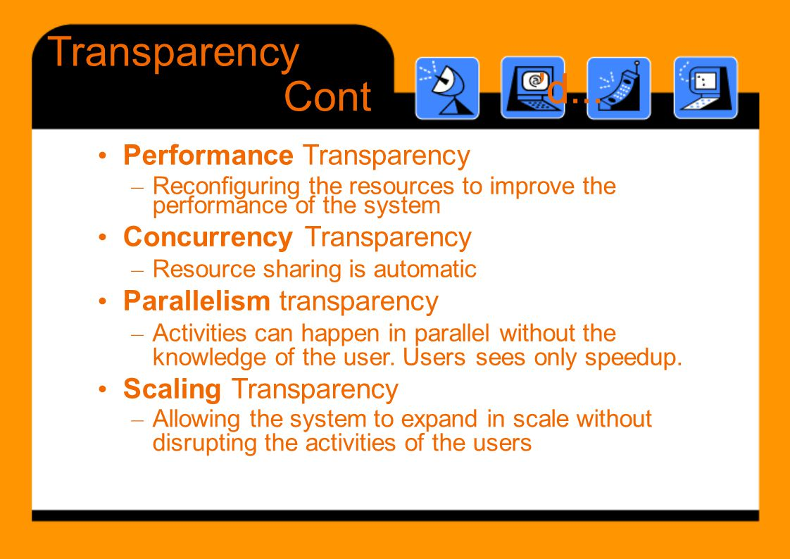 Transparency 'd d... Cont • Performance Transparency
