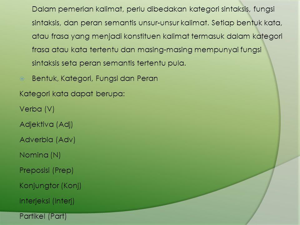 Bentuk, Kategori, Fungsi dan Peran Kategori kata dapat berupa: