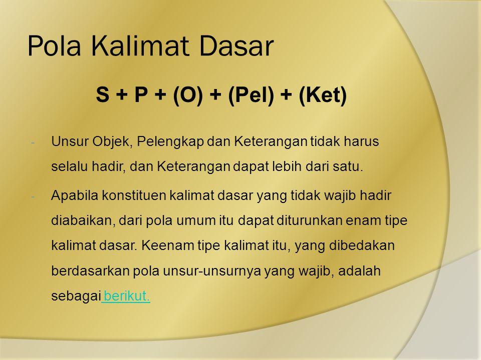 Pola Kalimat Dasar S + P + (O) + (Pel) + (Ket)