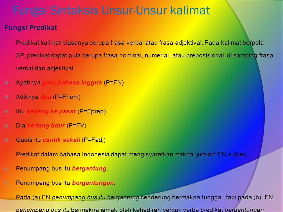 Fungsi Sintaksis Unsur-Unsur kalimat