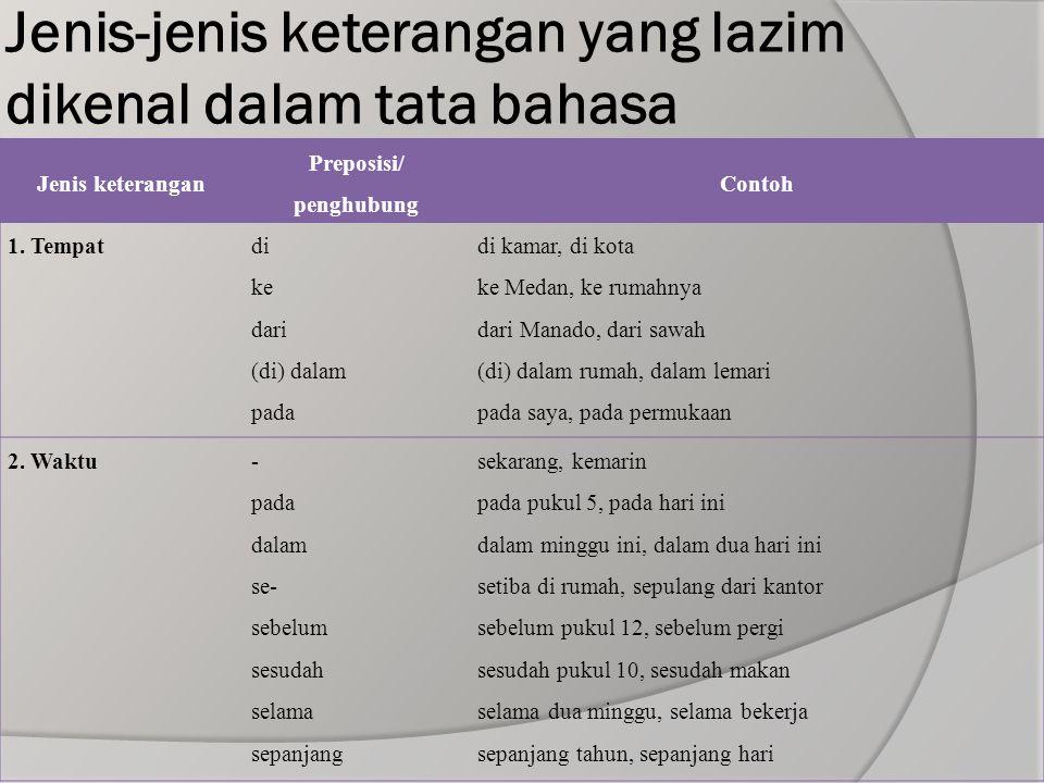 Jenis-jenis keterangan yang lazim dikenal dalam tata bahasa