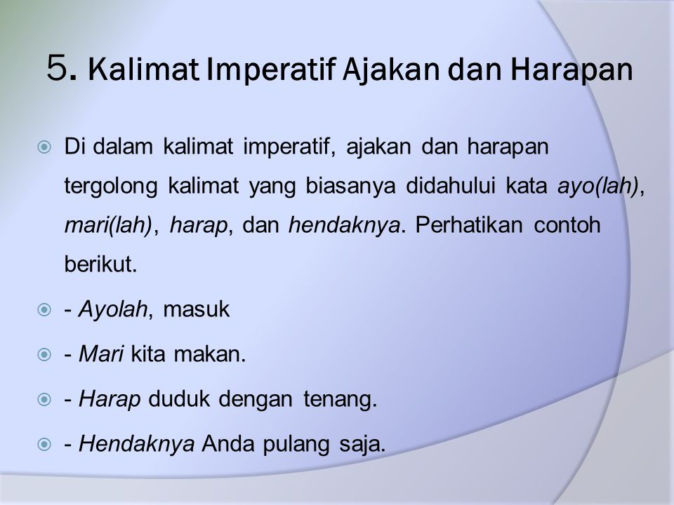 5. Kalimat Imperatif Ajakan dan Harapan