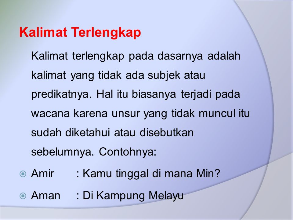 Kalimat Terlengkap