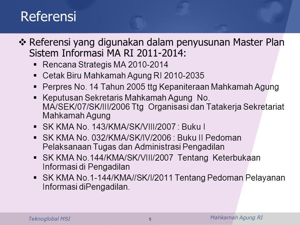 Referensi Referensi yang digunakan dalam penyusunan Master Plan Sistem Informasi MA RI 2011-2014: Rencana Strategis MA 2010-2014.