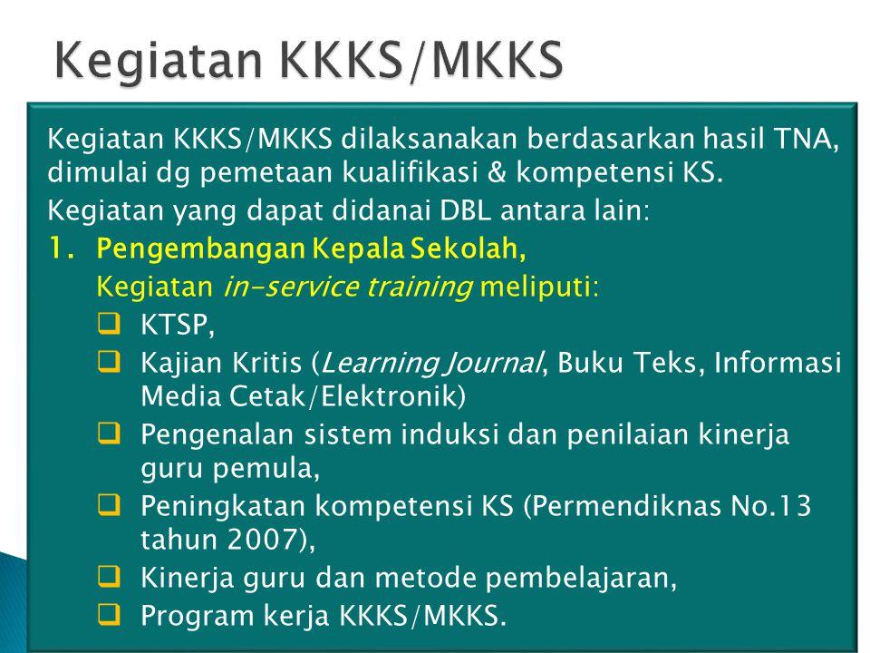 Kegiatan KKKS/MKKS Kegiatan KKKS/MKKS dilaksanakan berdasarkan hasil TNA, dimulai dg pemetaan kualifikasi & kompetensi KS.