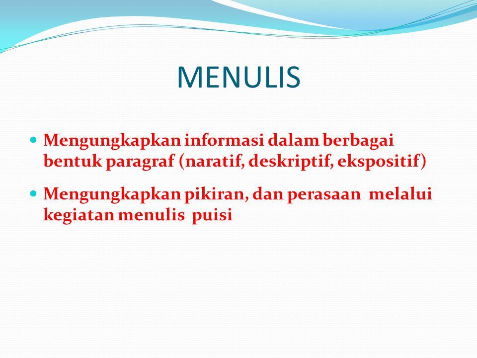 MENULIS Mengungkapkan informasi dalam berbagai bentuk paragraf (naratif, deskriptif, ekspositif)