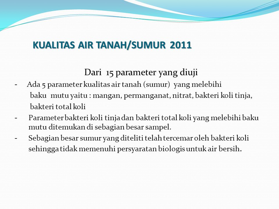 KUALITAS AIR TANAH/SUMUR 2011