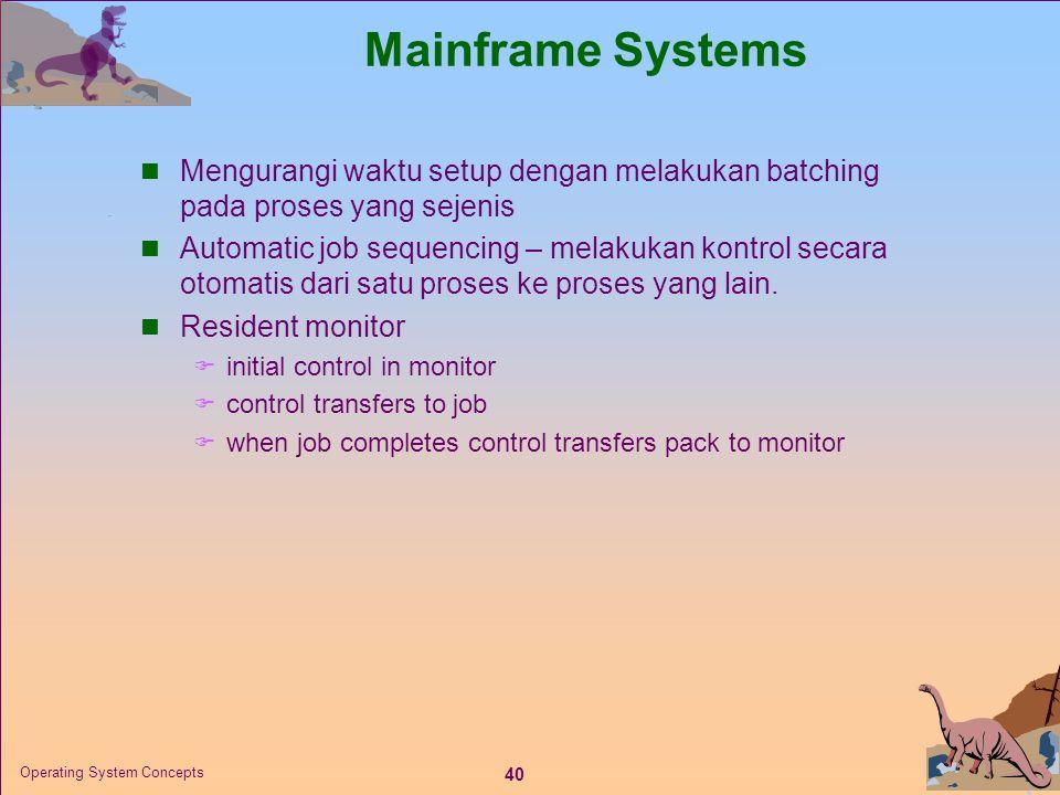 Mainframe Systems Mengurangi waktu setup dengan melakukan batching pada proses yang sejenis.