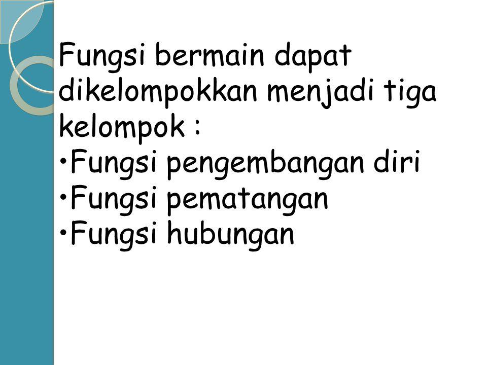 Fungsi bermain dapat dikelompokkan menjadi tiga kelompok :