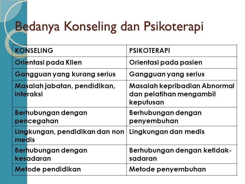 Bedanya Konseling dan Psikoterapi