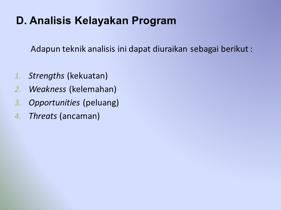 D. Analisis Kelayakan Program