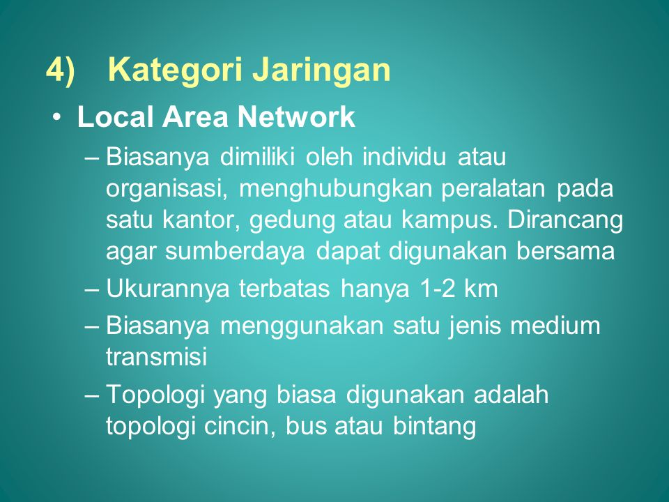 Kategori Jaringan Local Area Network