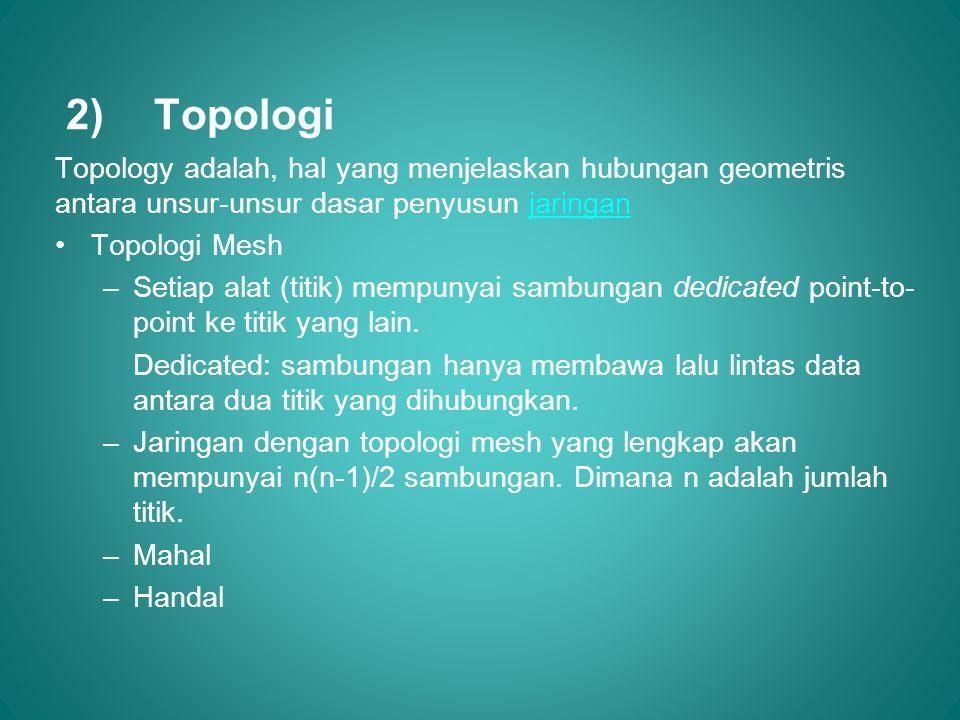Topologi Topology adalah, hal yang menjelaskan hubungan geometris antara unsur-unsur dasar penyusun jaringan.