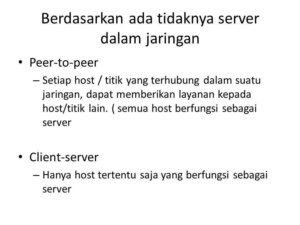 Berdasarkan ada tidaknya server dalam jaringan