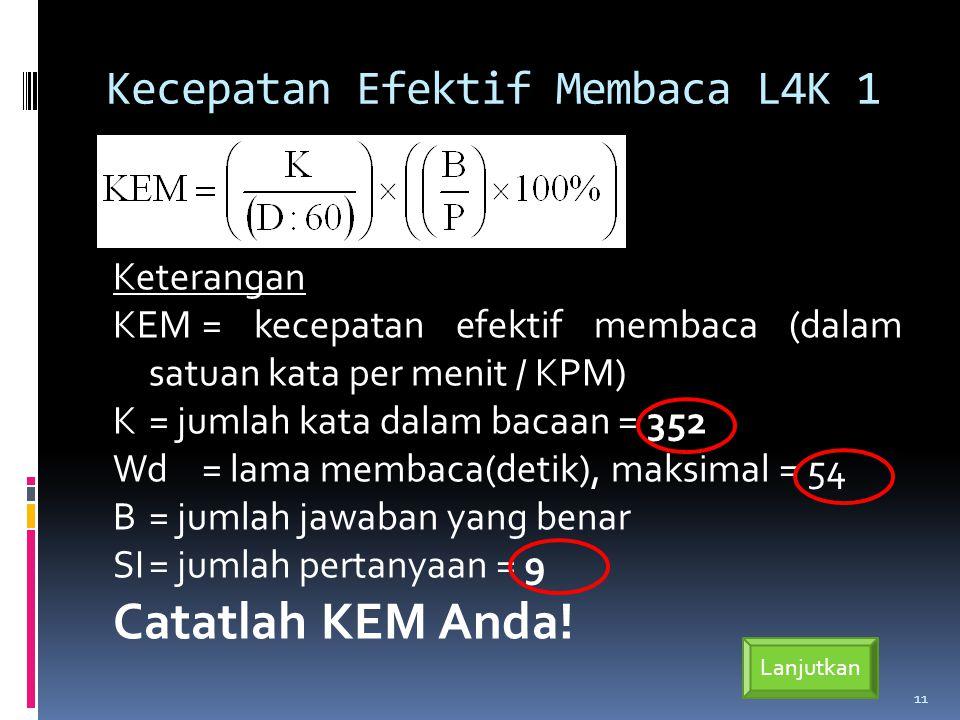 Kecepatan Efektif Membaca L4K 1