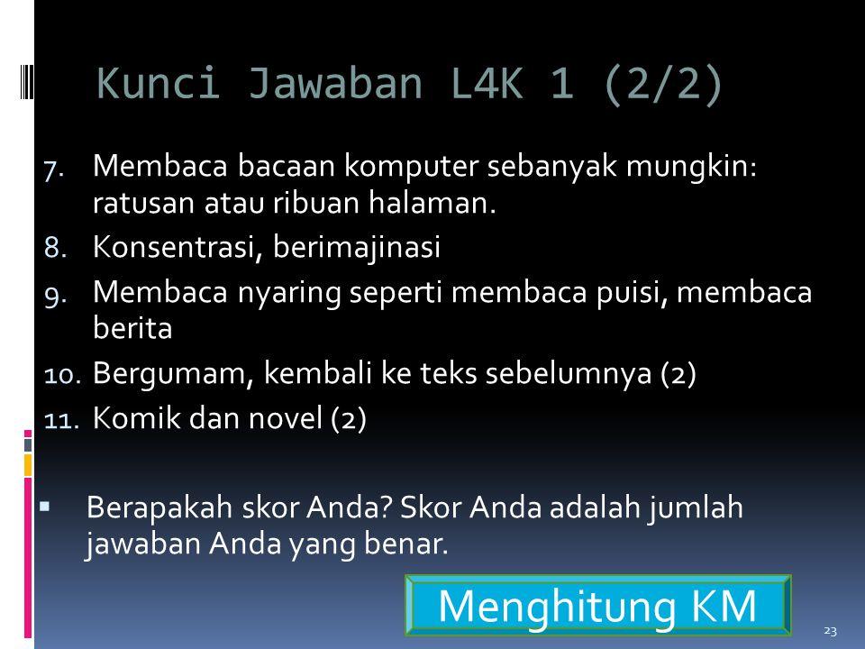 Kunci Jawaban L4K 1 (2/2) Menghitung KM
