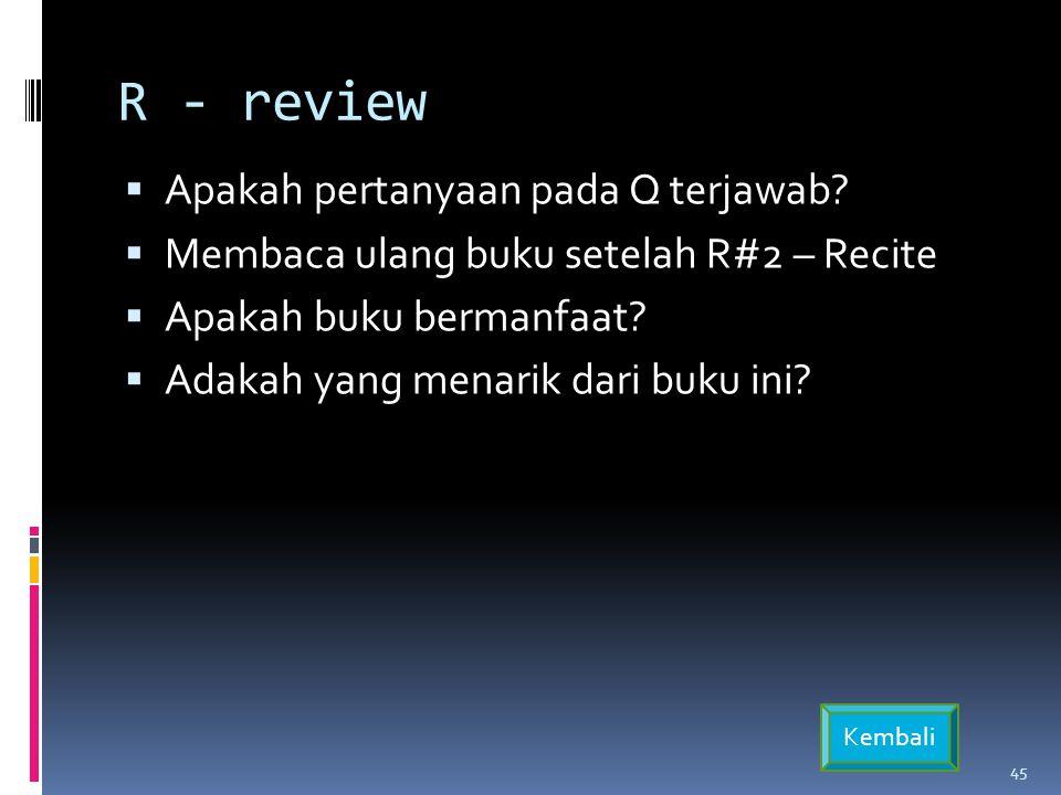 R - review Apakah pertanyaan pada Q terjawab
