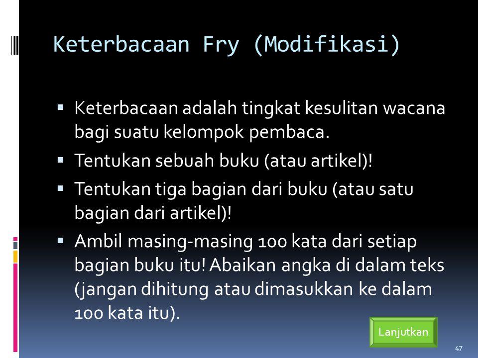 Keterbacaan Fry (Modifikasi)