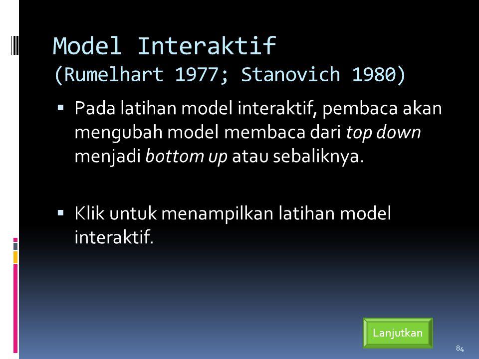 Model Interaktif (Rumelhart 1977; Stanovich 1980)