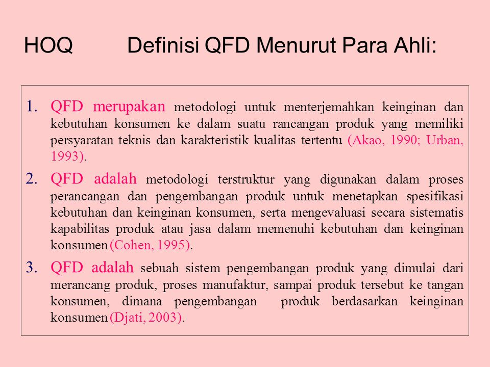 Definisi QFD Menurut Para Ahli: