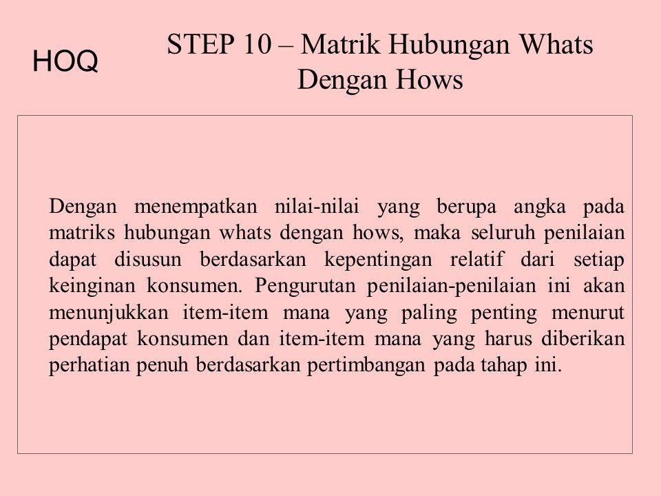 STEP 10 – Matrik Hubungan Whats Dengan Hows