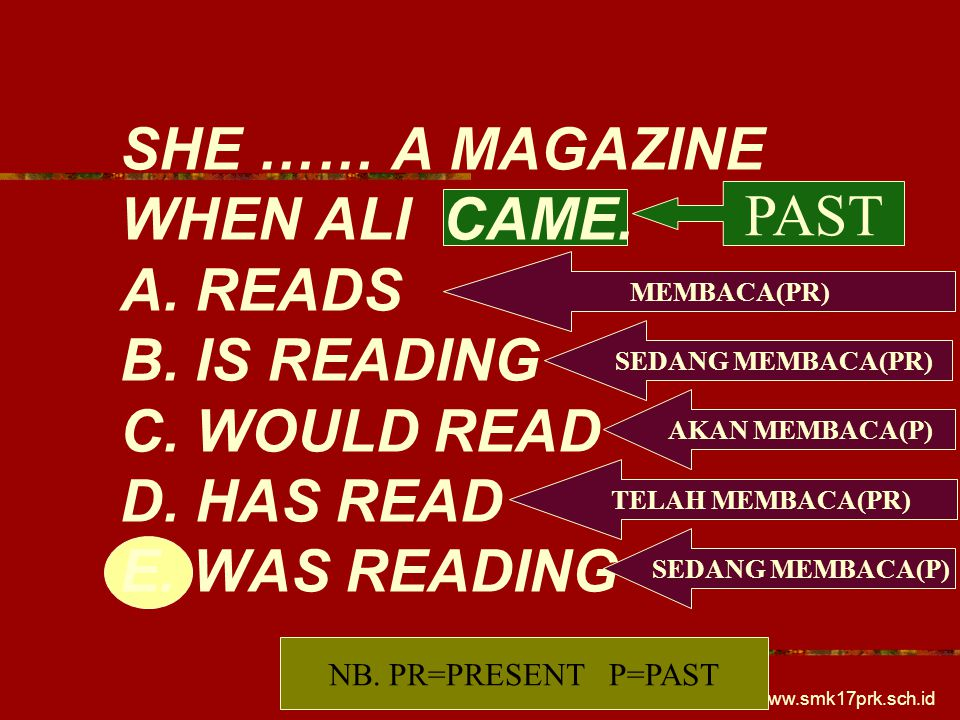 SHE …… A MAGAZINE WHEN ALI CAME. A. READS B. IS READING C. WOULD READ D. HAS READ E. WAS READING