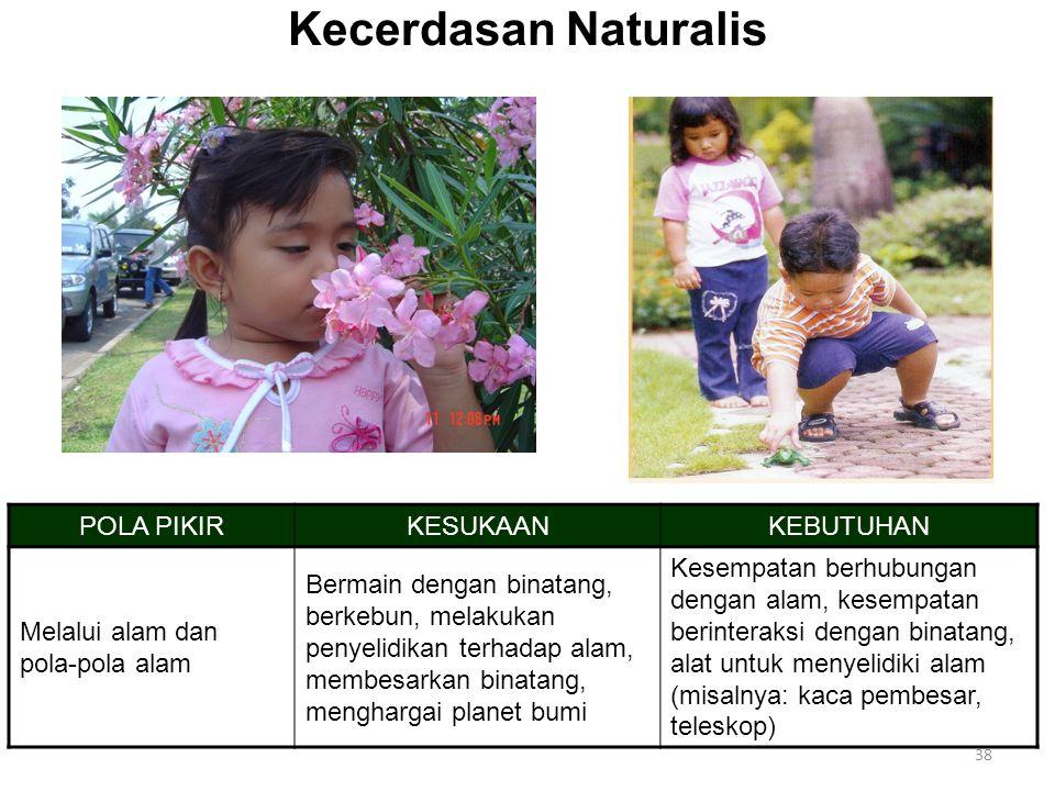 Kecerdasan Naturalis POLA PIKIR KESUKAAN KEBUTUHAN