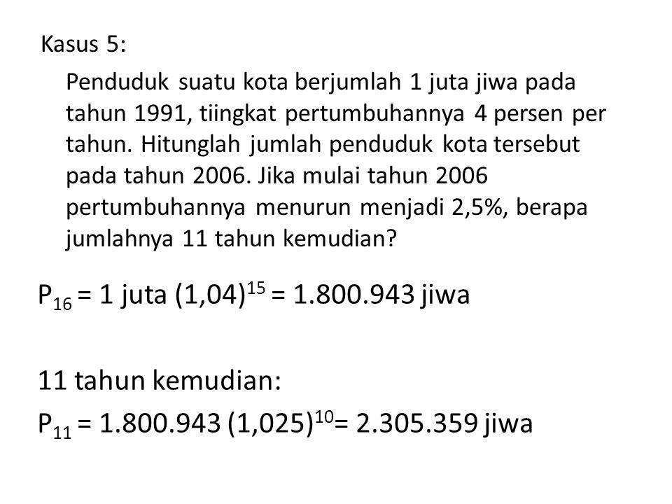 P16 = 1 juta (1,04)15 = 1.800.943 jiwa 11 tahun kemudian: