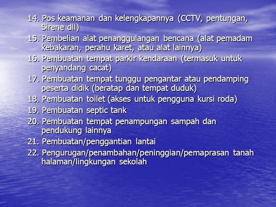 14. Pos keamanan dan kelengkapannya (CCTV, pentungan, Sirene dll)