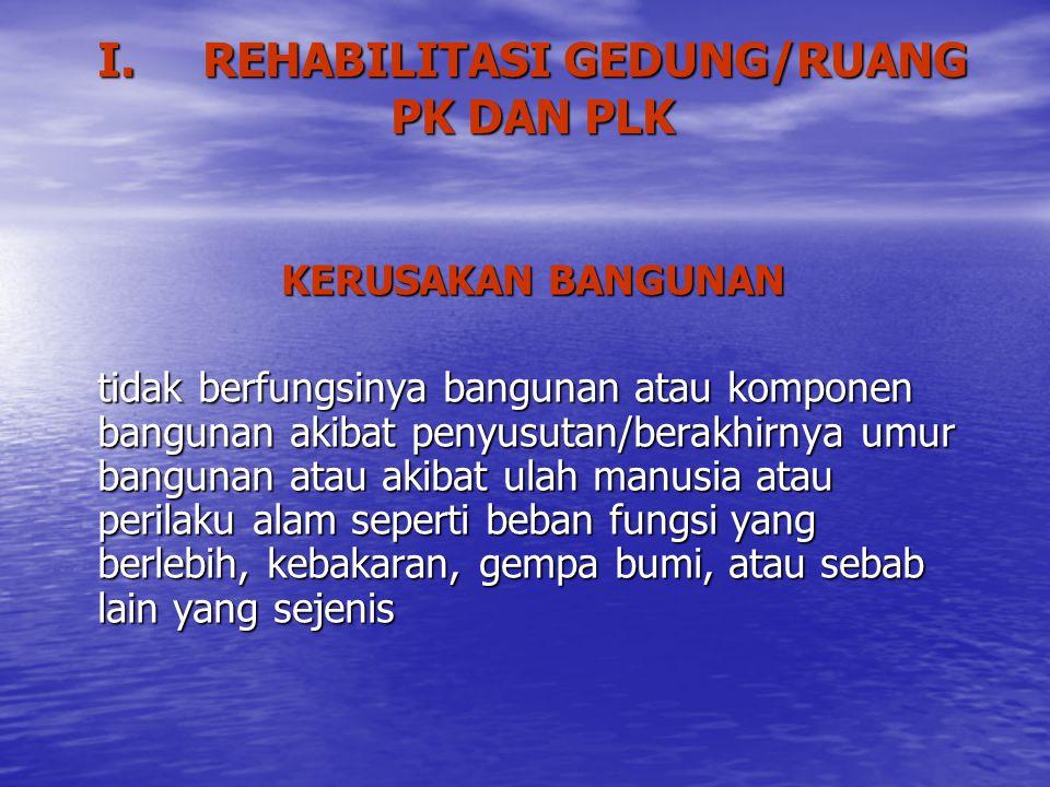 I. REHABILITASI GEDUNG/RUANG PK DAN PLK