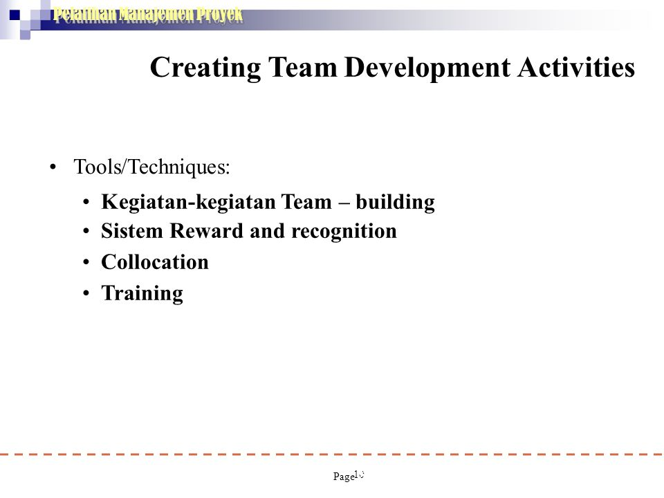 Creating Team Development Activities