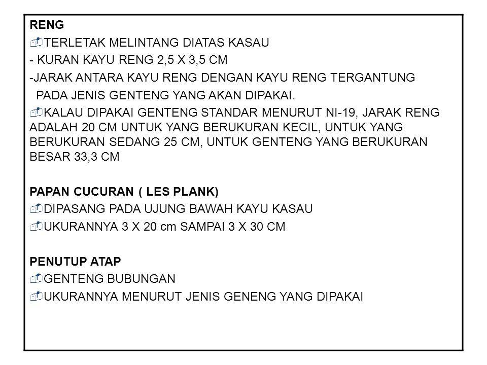 RENG TERLETAK MELINTANG DIATAS KASAU. - KURAN KAYU RENG 2,5 X 3,5 CM. -JARAK ANTARA KAYU RENG DENGAN KAYU RENG TERGANTUNG.