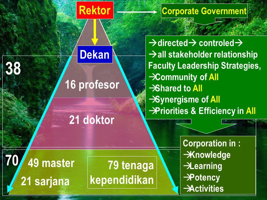 38 70 Rektor Dekan 16 profesor 21 doktor 49 master 79 tenaga