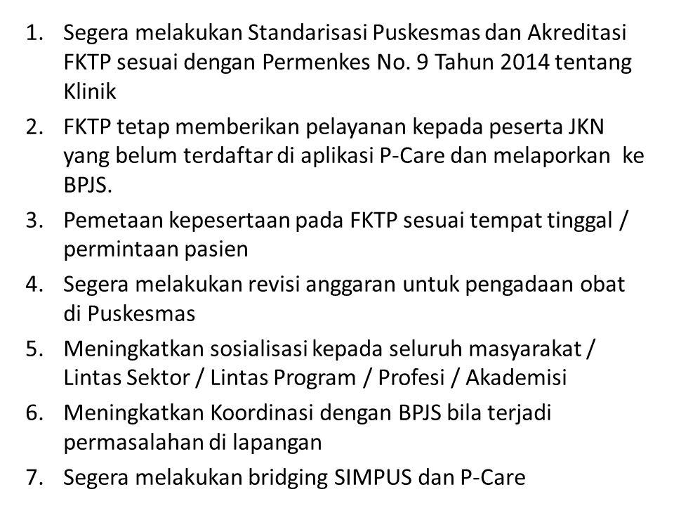 Segera melakukan Standarisasi Puskesmas dan Akreditasi FKTP sesuai dengan Permenkes No. 9 Tahun 2014 tentang Klinik