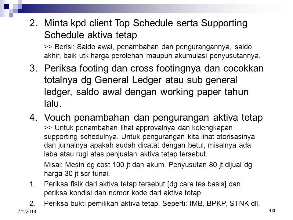 Minta kpd client Top Schedule serta Supporting Schedule aktiva tetap