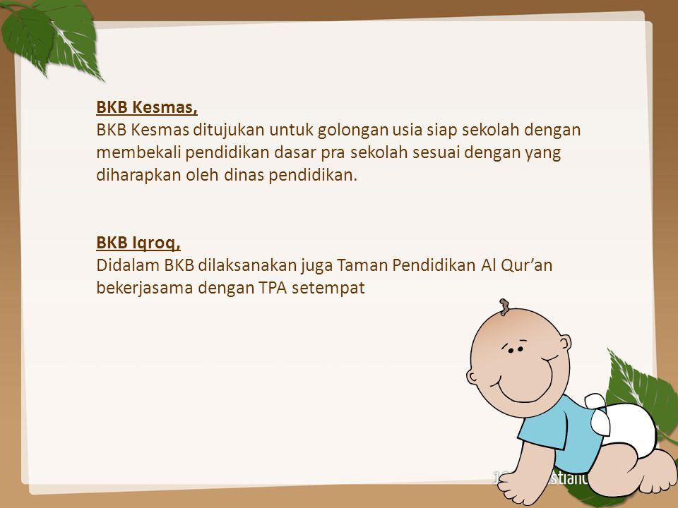 BKB Kesmas, BKB Kesmas ditujukan untuk golongan usia siap sekolah dengan membekali pendidikan dasar pra sekolah sesuai dengan yang diharapkan oleh dinas pendidikan.