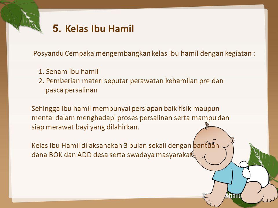 5. Kelas Ibu Hamil Posyandu Cempaka mengembangkan kelas ibu hamil dengan kegiatan : 1. Senam ibu hamil.