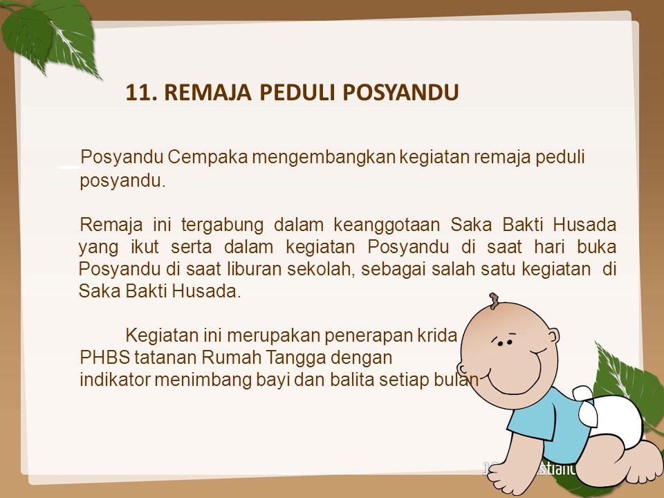 11. REMAJA PEDULI POSYANDU